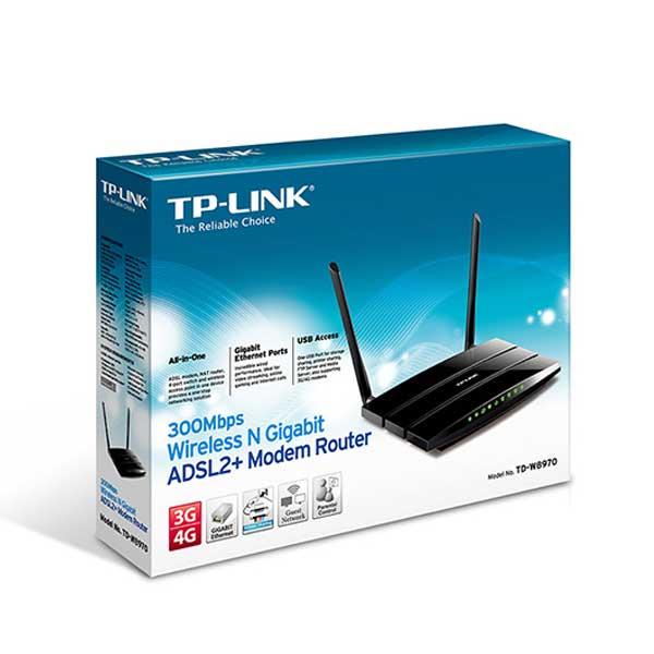 مودم وایرلس چهارپورت لن و یک پورت USB دو آنتن سری N300 تی پی لینک TP-LINK TD-W8970