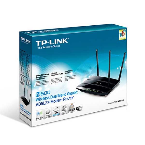 مودم وایرلس چهارپورت گیگ و دو پورت USB سه آنتن سری N600 تی پی لینک TP-LINK TD-W8980