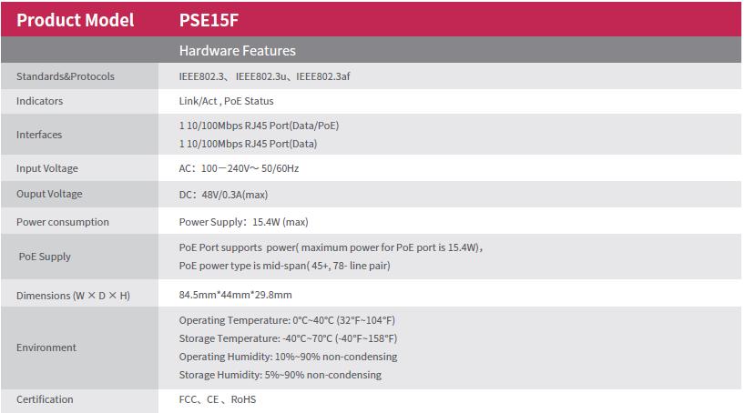 اینجکتور POE انتقال دهنده برق تحت شبکه آی پی کام PSE15F IP-COM