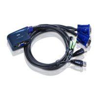کی وی ام سوئیچ کابلی دو پورت VGA/USB با کابلهای 0.9 متر آتن CS-62US ATEN