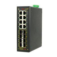 سوییچ صنعتی POE هوشمند 8 پورت 10/100/1000 و 8 پورت فیبر نوری LC اس ای ایی SAE-IPE8800F-OSFPM