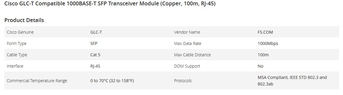 ماژول SFP سیسکو Cisco GLC-T 1000BASE