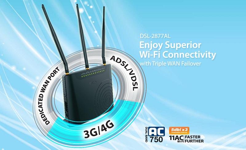 مودم وایرلس ADSL , VDSL چهارپورت سری AC750 دی لینک DSL-2877AL