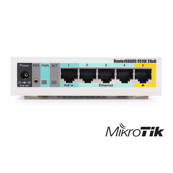 روتر اکسس پوینت 5 پورت 2.4 گیگاهرتز میکروتیک Mikrotik RB951Ui-2HnD