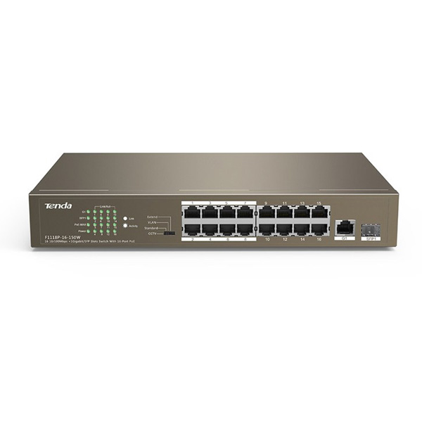 TEF1118P-16-150W / Switch / 16 10/100Mbps +1 Gigabit/SFP Slots Switch With 16-Port PoE