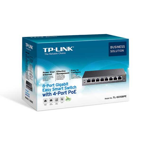 سوئیچ 8 پورت گیگ POE تی پی لینک TL-SG108PE TP-Link
