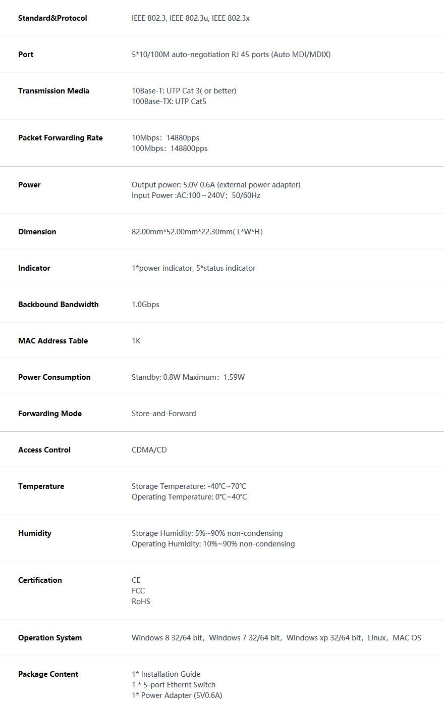 سوئیچ پنج پورت غیر مدیریتی اترنت تندا Tenda S105