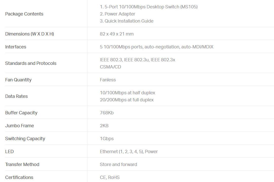 سوئیچ 5 پورت اترنت غیرمدیریتی مرکوسیس MS105